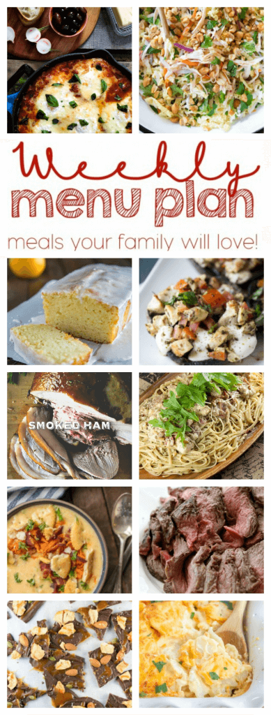 Time for another Weekly Meal Plan Week - 10 great bloggers bringing you a full week of recipes including dinner, sides dishes, and desserts!