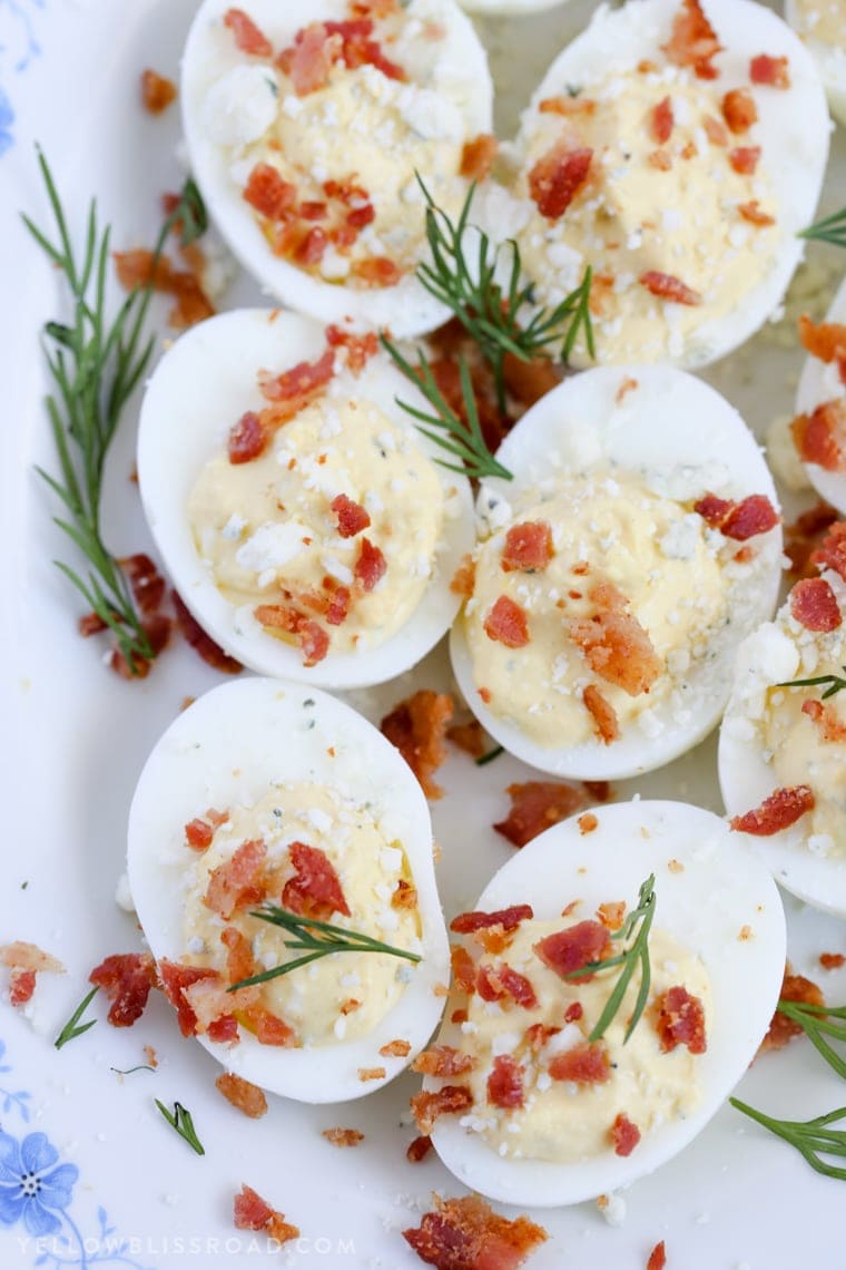 These Ranch, Blue Cheese & Bacon Deviled Eggs are creamy and tangy and the perfect enhancement to your Easter table.