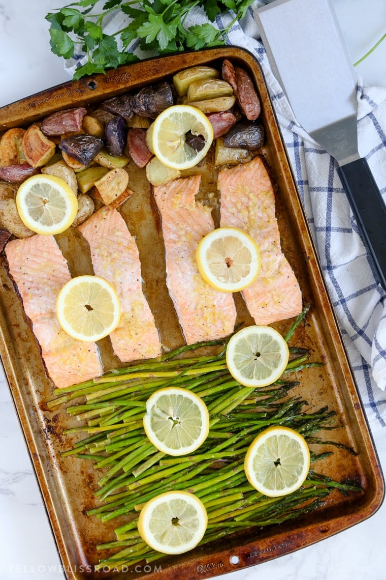 Roasted Salmon and Potatoes with Asparagus