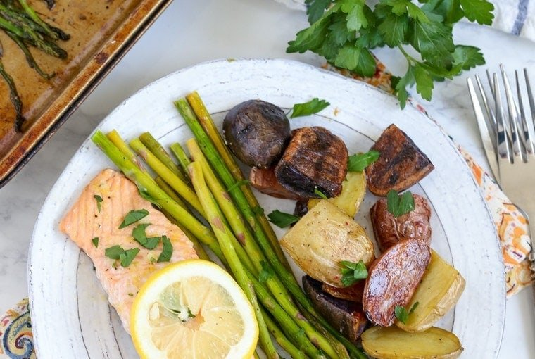 Sheet Pan Salmon, Asparagus and Potatoes