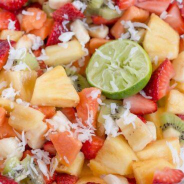 A close up of fruit salad