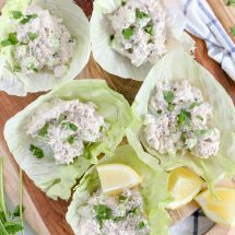 Tuna Salad Lettuce Wraps with Lemon, Dill & Black Pepper Mayo