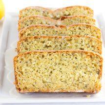 Lemon Poppy Seed Bread topped with a Lemon Glaze