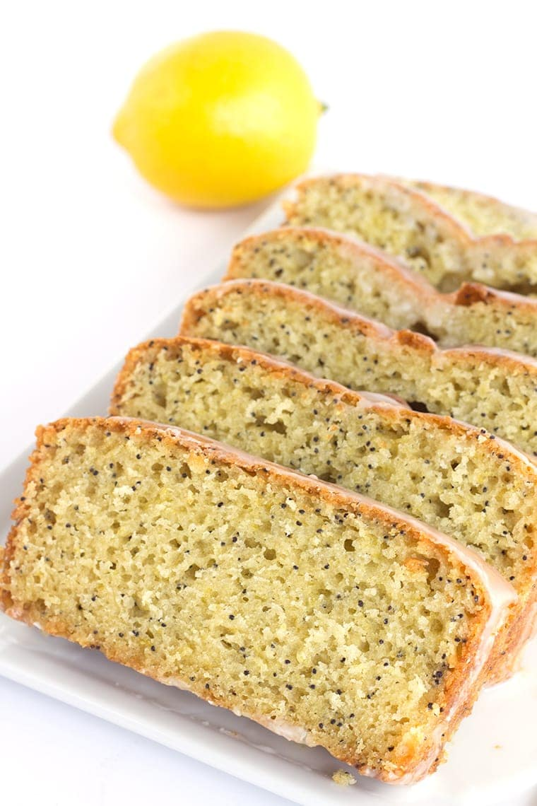 Lemon Poppy Seed Bread topped with a Lemon Glaze - A sweet quick bread that's perfect for brunch
