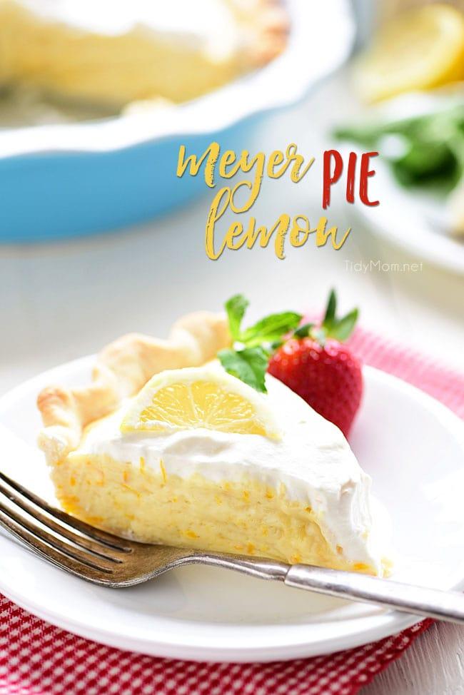 A slice of Meyer Lemon Pie on a plate