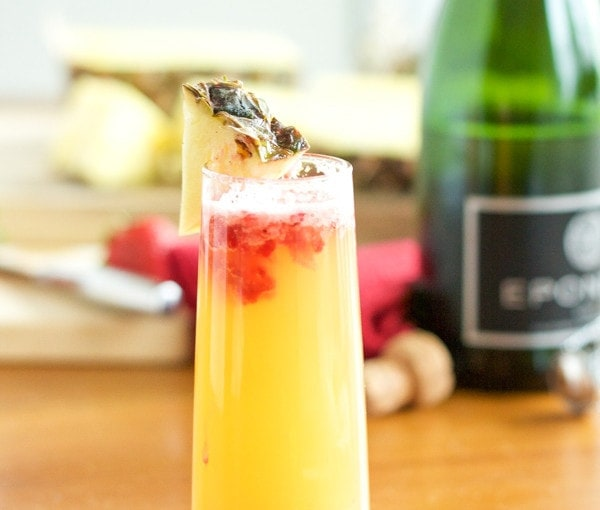 Pineapple Strawberry Mimosas