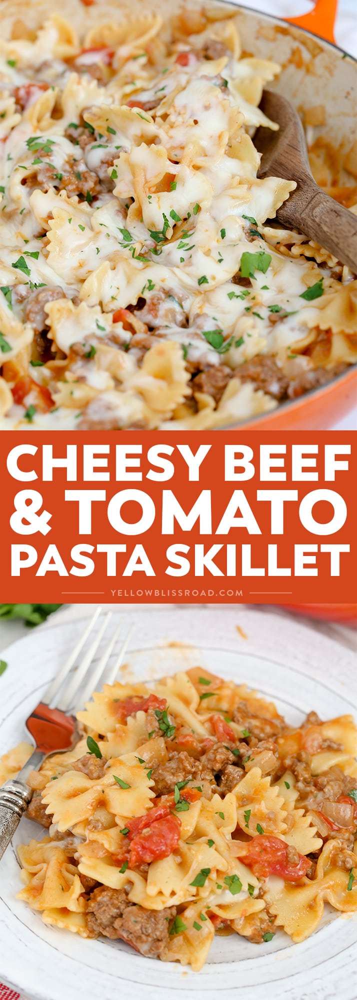 This Cheesy Beef & Tomato Pasta Skillet is sure to become your new favorite meal. All cooked in one pan, this easy weeknight dinner comes together in less than 30 minutes!