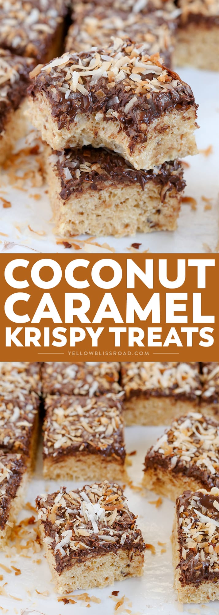 These Chocolate, Coconut Caramel Krispy Treats are inspired by Samoas - a classic favorite Girl Scout Cookie! A fun and yummy dessert that everyone will love.