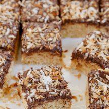 Samoa Inspired Chocolate, Coconut Caramel Krispy Treats