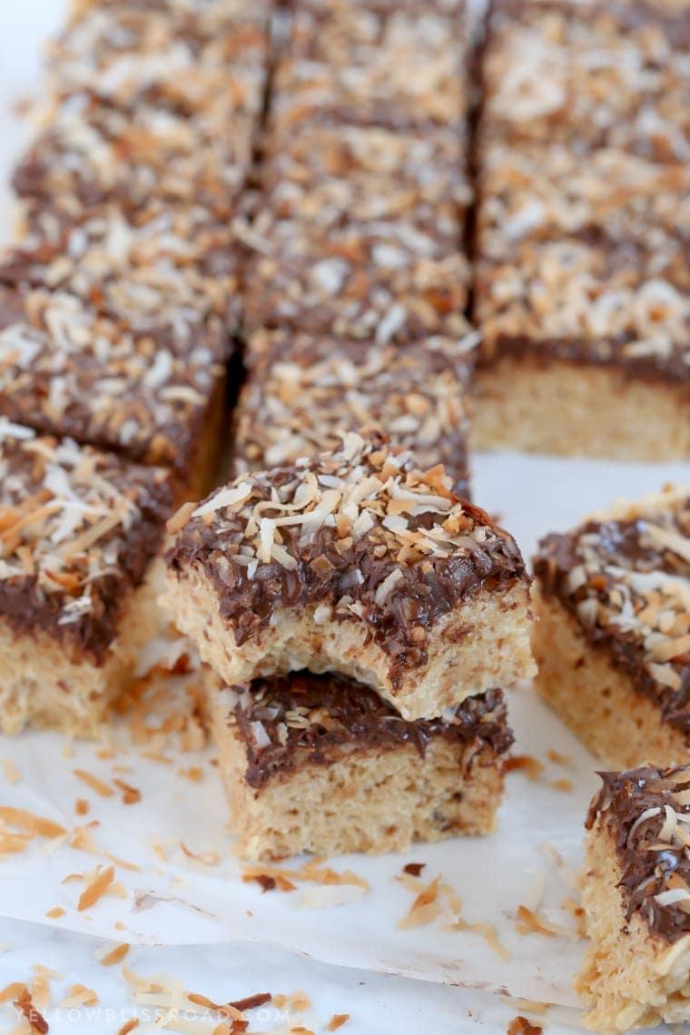 Samoa Inspired Chocolate Coconut Caramel Krispy Treats