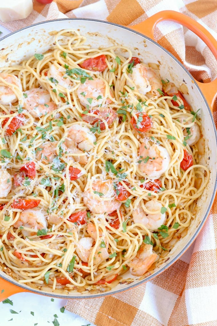 Garlic Shrimp Pasta and Tomato Spaghetti with parsley and Parmesan garnish