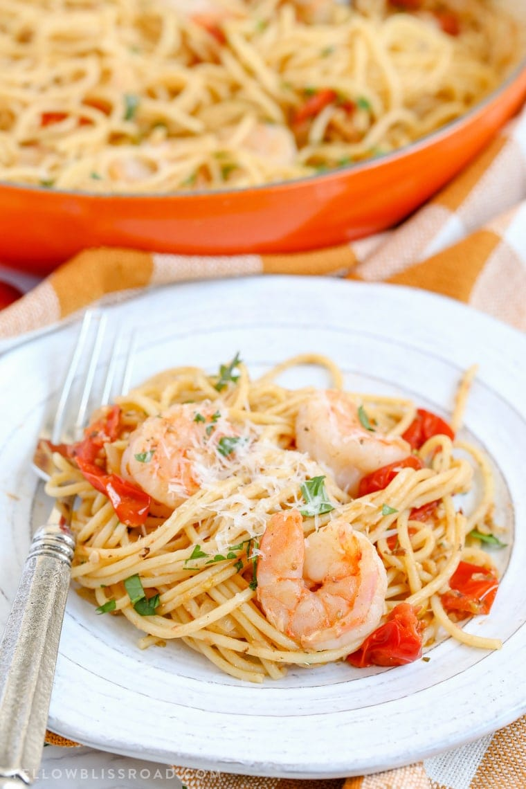 Shrimp pasta dinner in a bowl.