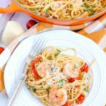 A plate of Garlic Shrimp Tomato Spaghetti
