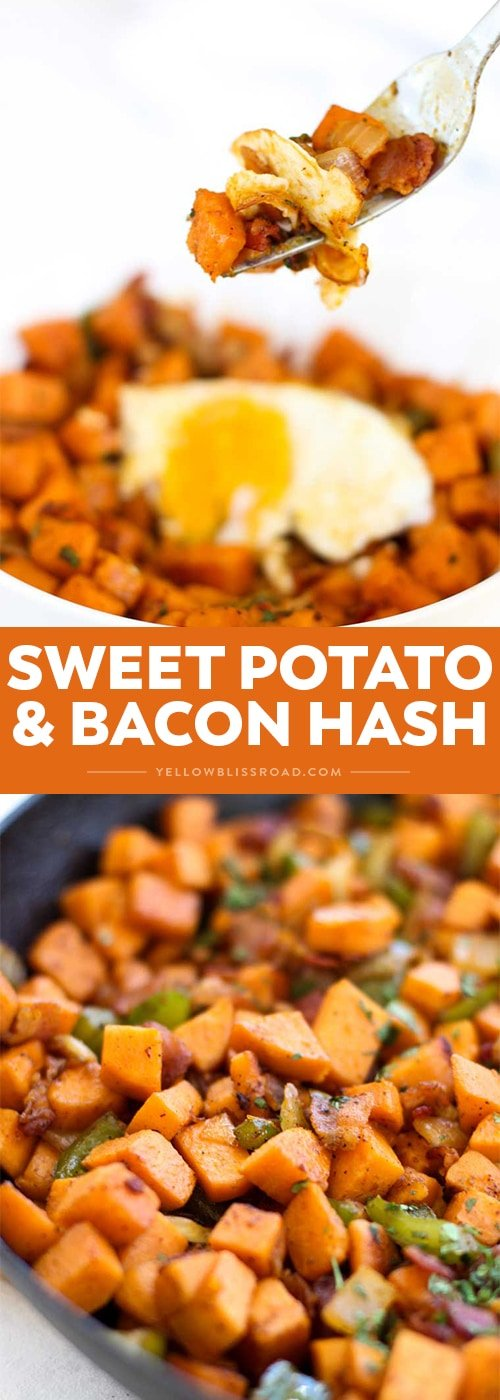 This Sweet Potato and Bacon Hash is an easy and savory breakfast or brunch that the whole family will love!