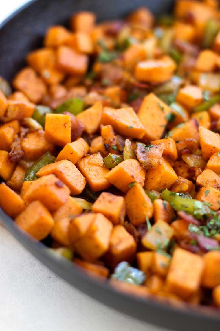 A close up of sweet potato hash