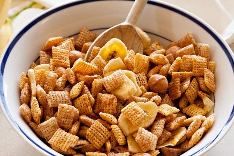 A bowl filled with chex mix