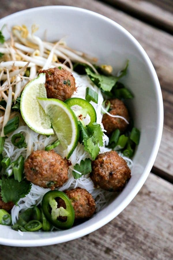 A bowl Pho with Meatballs