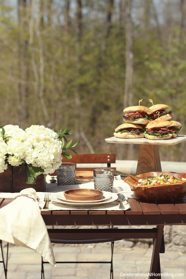 Food on an outdoor table
