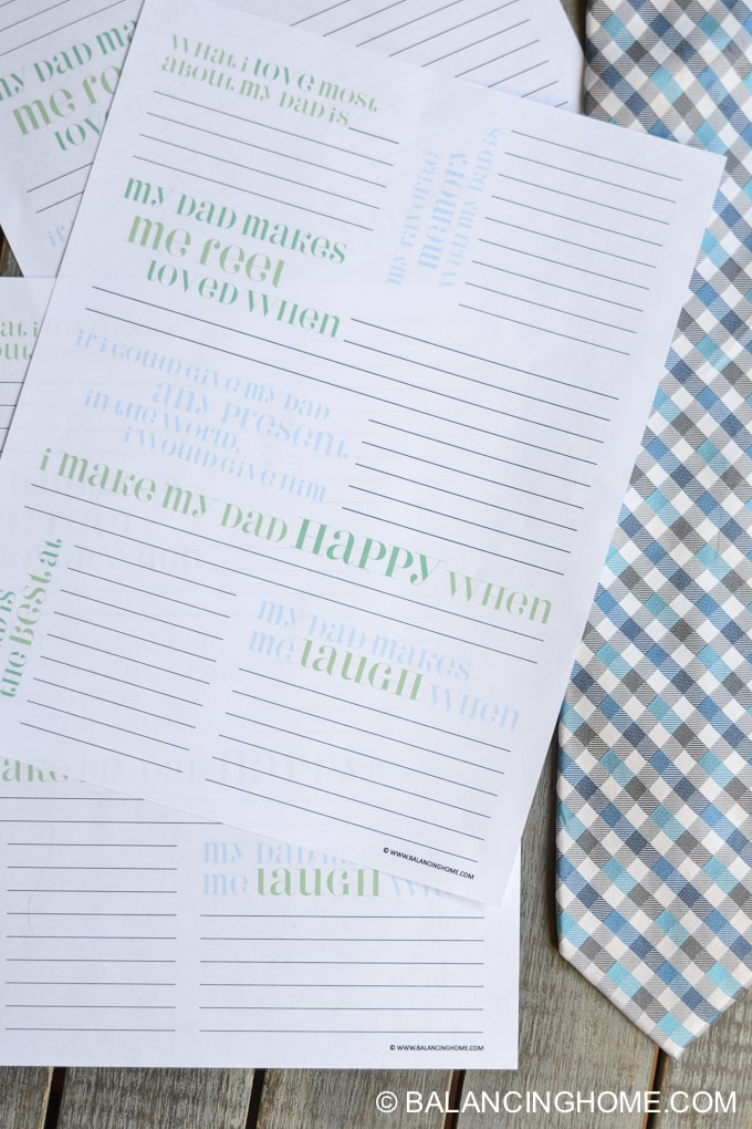 A close up of a Father\'s Day printable