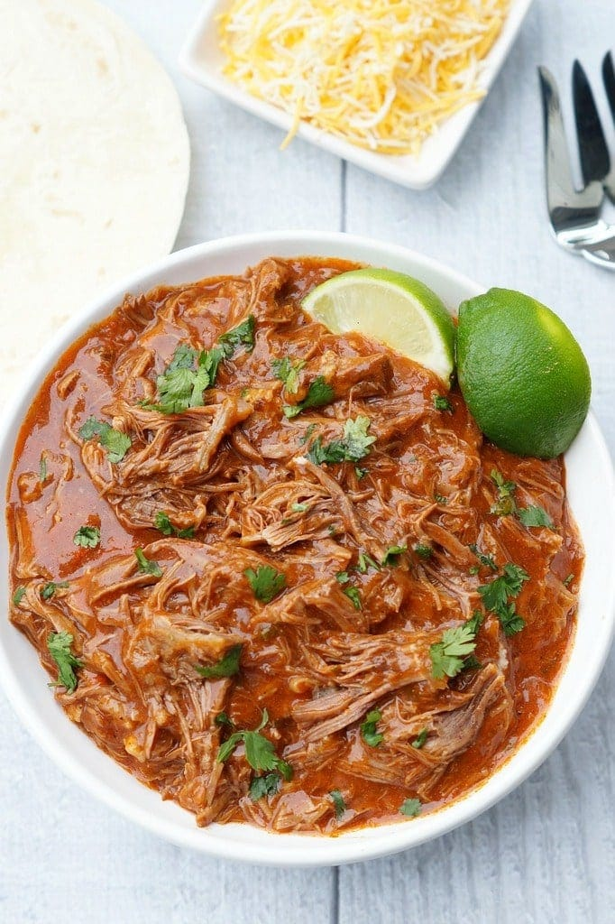A plate of Mexican Shredded Beef on a table