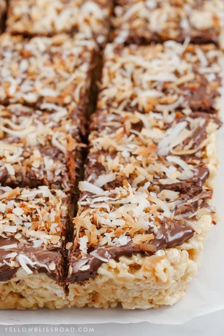 Close up of chocolate coconut rice krispie treats
