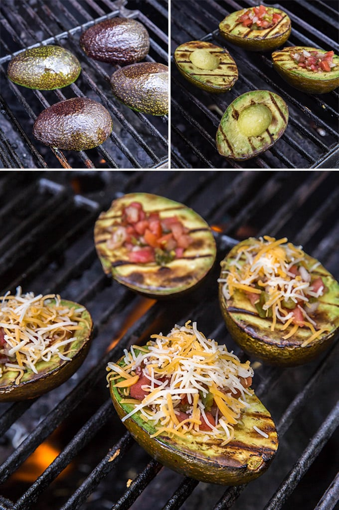 A collage of 4 images showing avocado halves on a grill, with grill markes and stuffed with salsa and cheese.