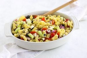 This Greek Pasta Salad is easy to throw together and perfect for the summer!