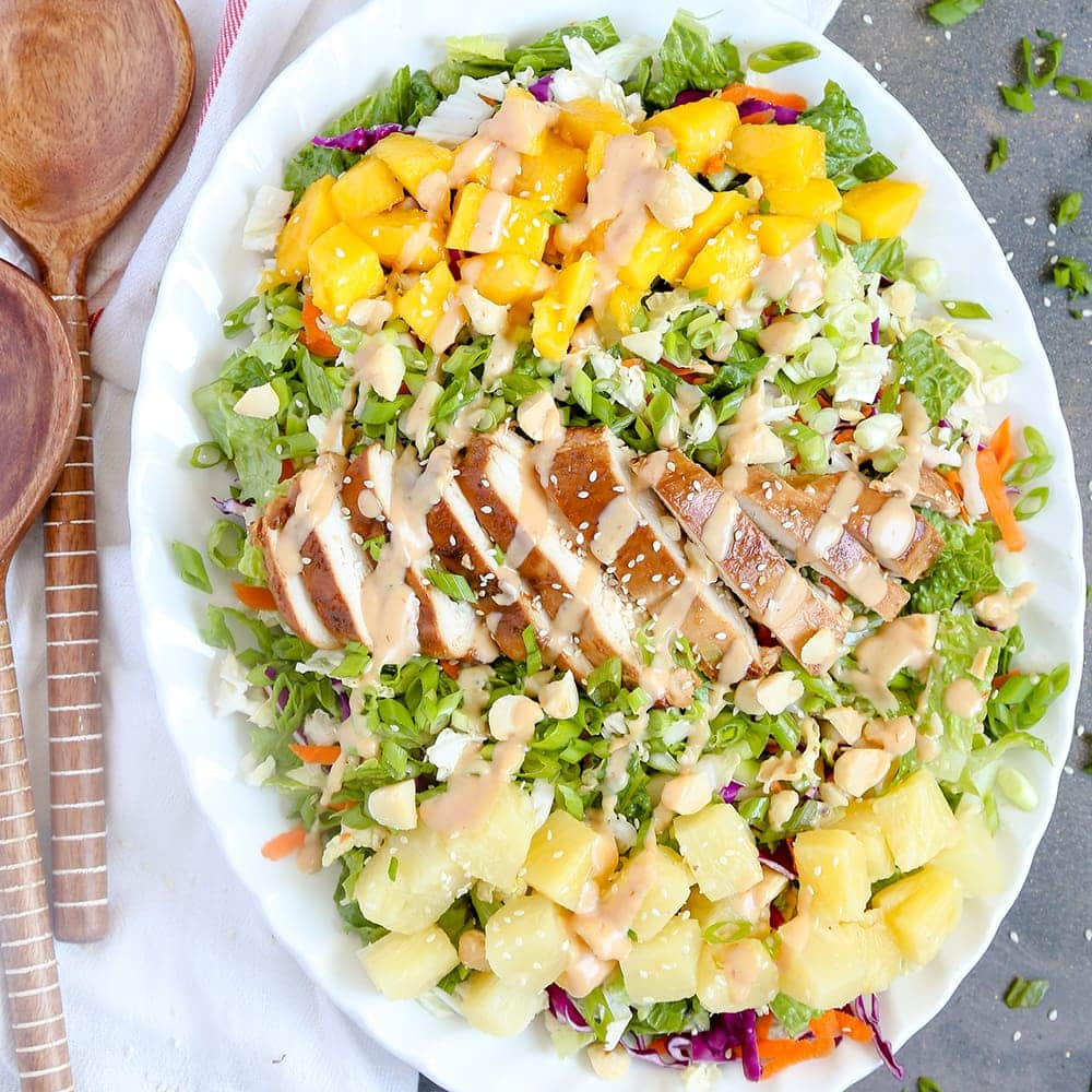 Hawaiian Barbecue Chicken Chopped Salad with Creamy ...