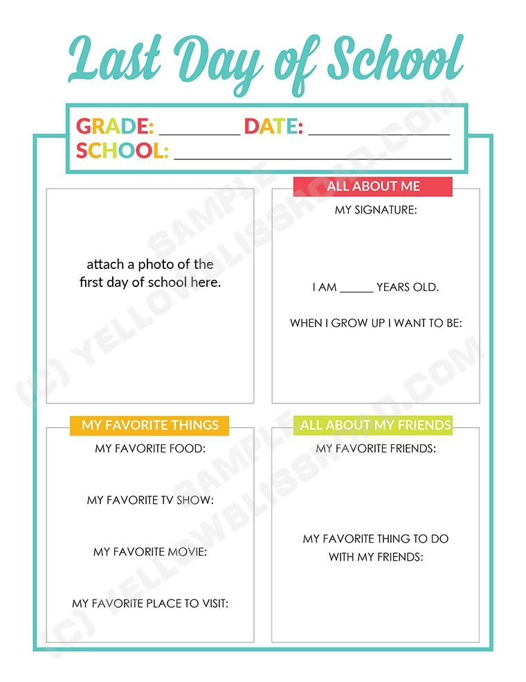 Document your child's personality with these Last Day of School Interviews