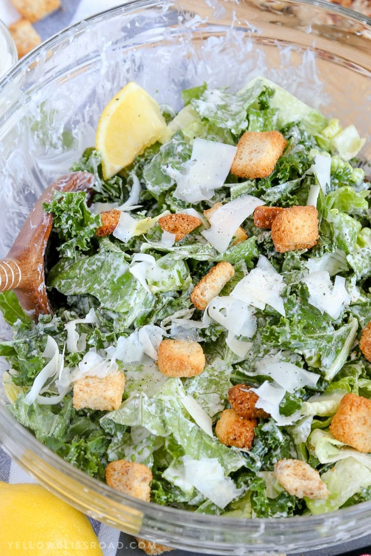 Lemon Kale Caesar Salad tossed with homemade dressing and croutons