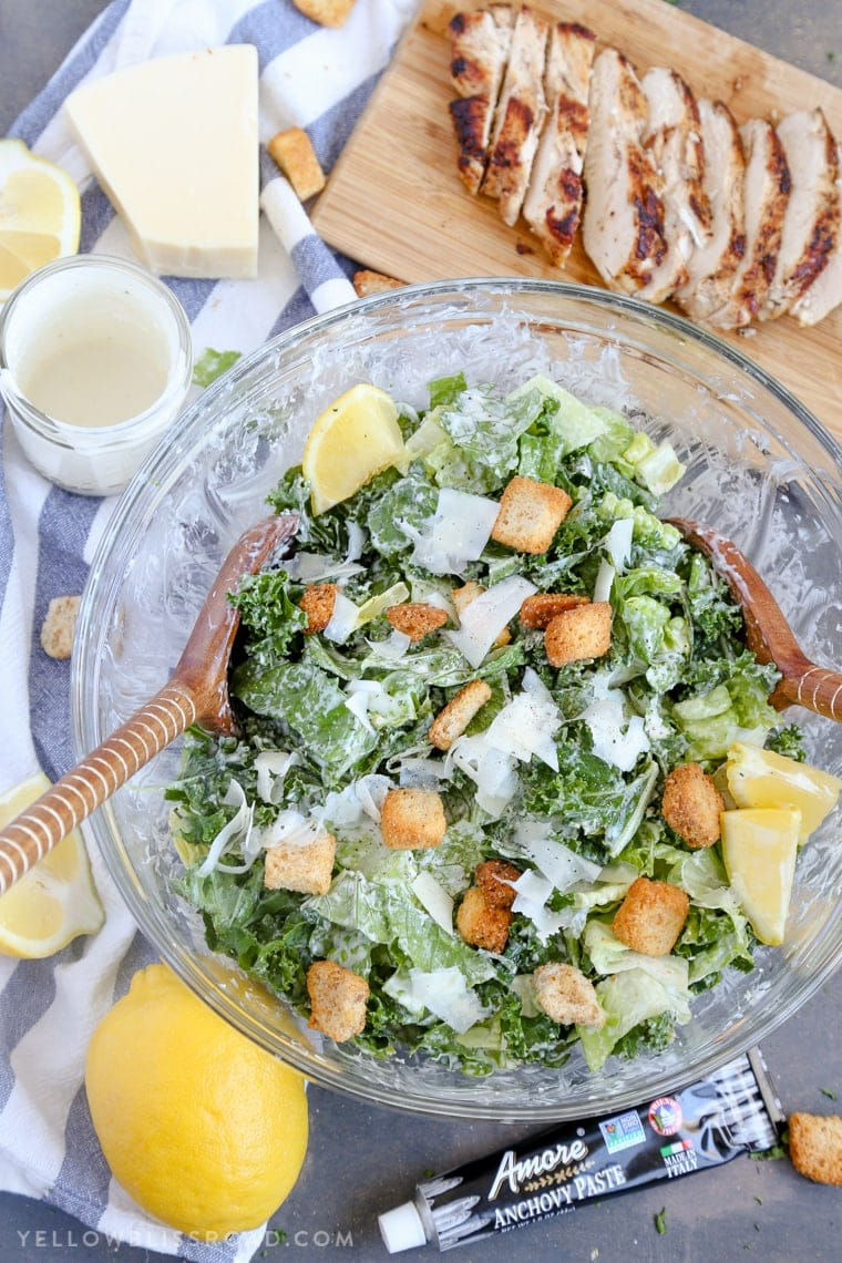 Kale & Romaine Salad with Homemade Caesar Dressing and grilled chicken