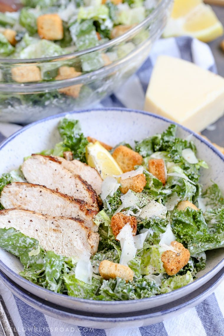 Kale & Romaine Salad with Homemade Caesar Dressing with Grilled Chicken and Parmesan