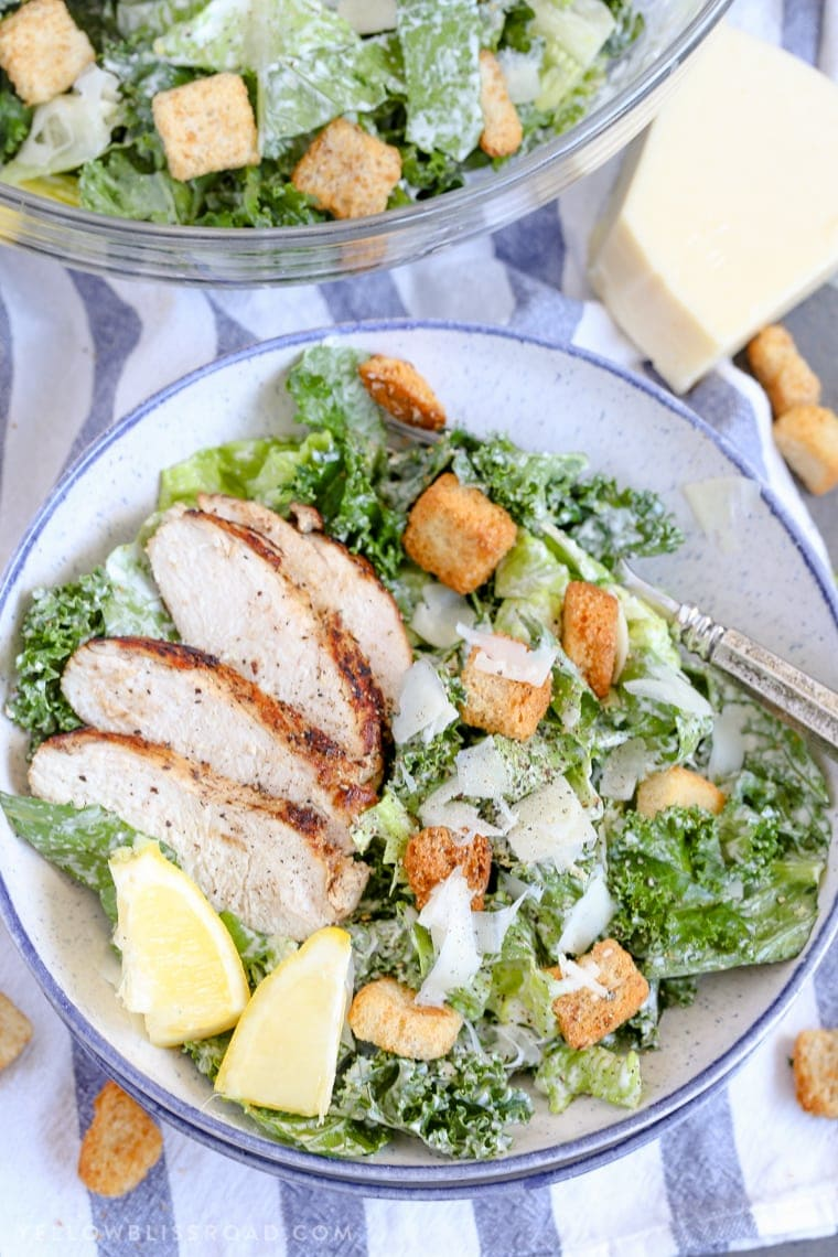 Lemon Kale & Romaine Caesar Salad with Grilled Chicken and Homemade Caesar Dressing