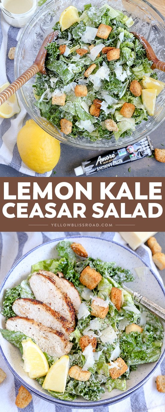 Lemon Kale Caesar Salad - a light and fresh summer meal salad that is great with chicken, steak or shrimp!