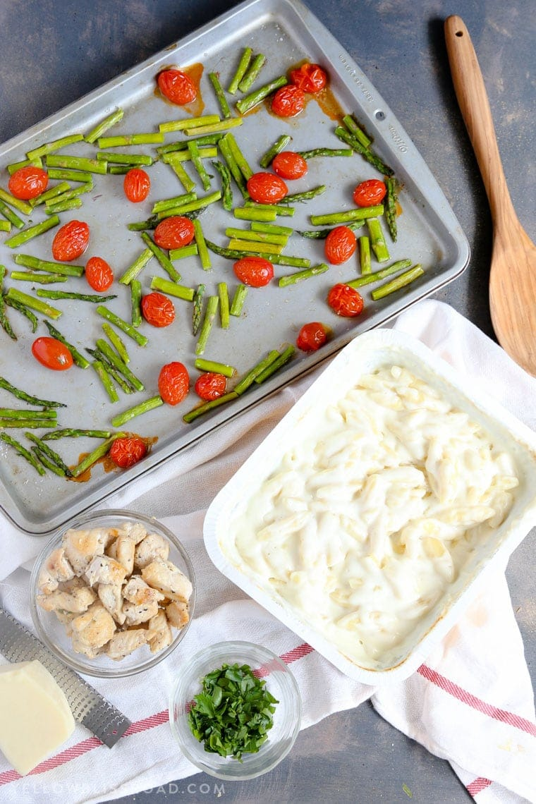 Chicken Mac & Cheese with Roasted Tomatoes and Asparagus