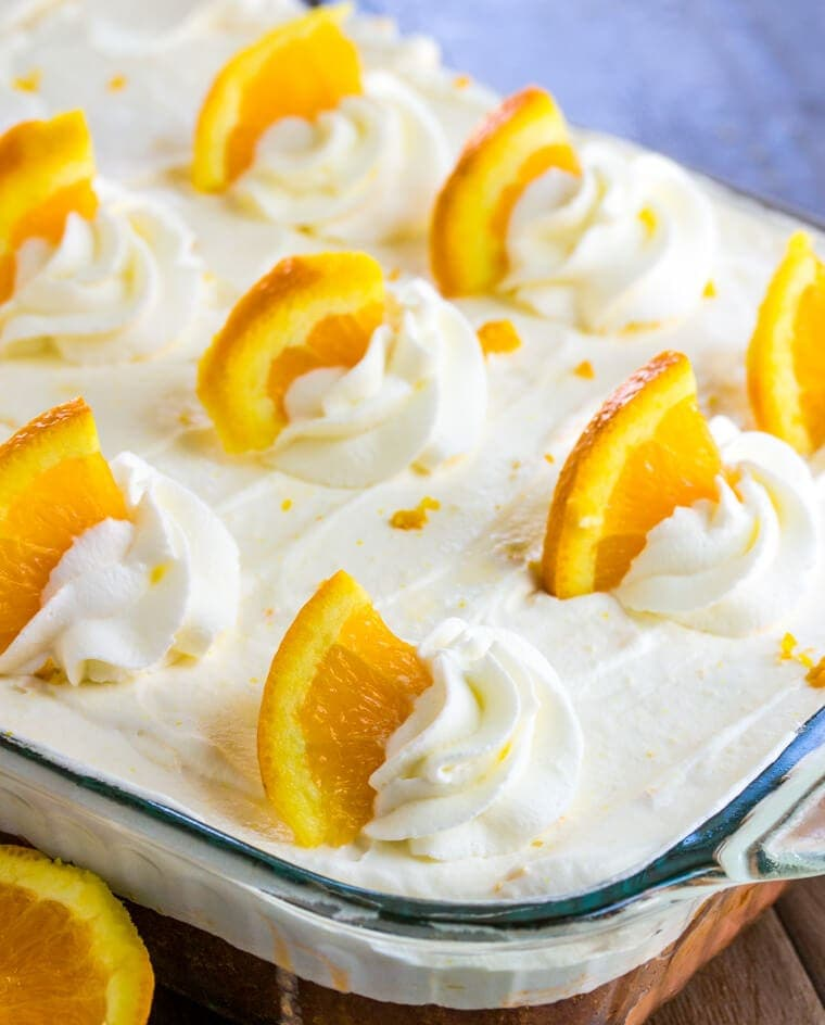 Orange Creamsicle Poke Cake with Oranges