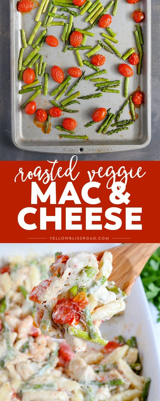 This Chicken Mac & Cheese with Roasted Tomatoes and Asparagus is super creamy, ultra cheesy and so rich in flavor - it will be your new family favorite weeknight dinner recipe!