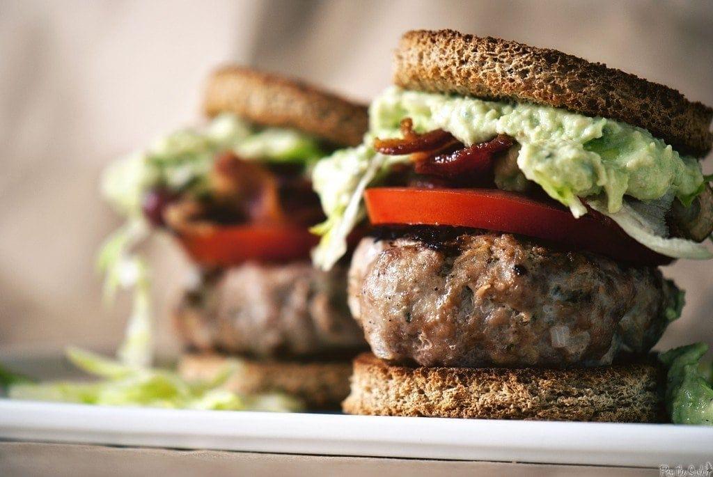 A close up of burgers