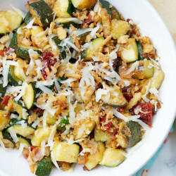 Zucchini with Sun Dried Tomatoes, Bacon, and Crispy Onions