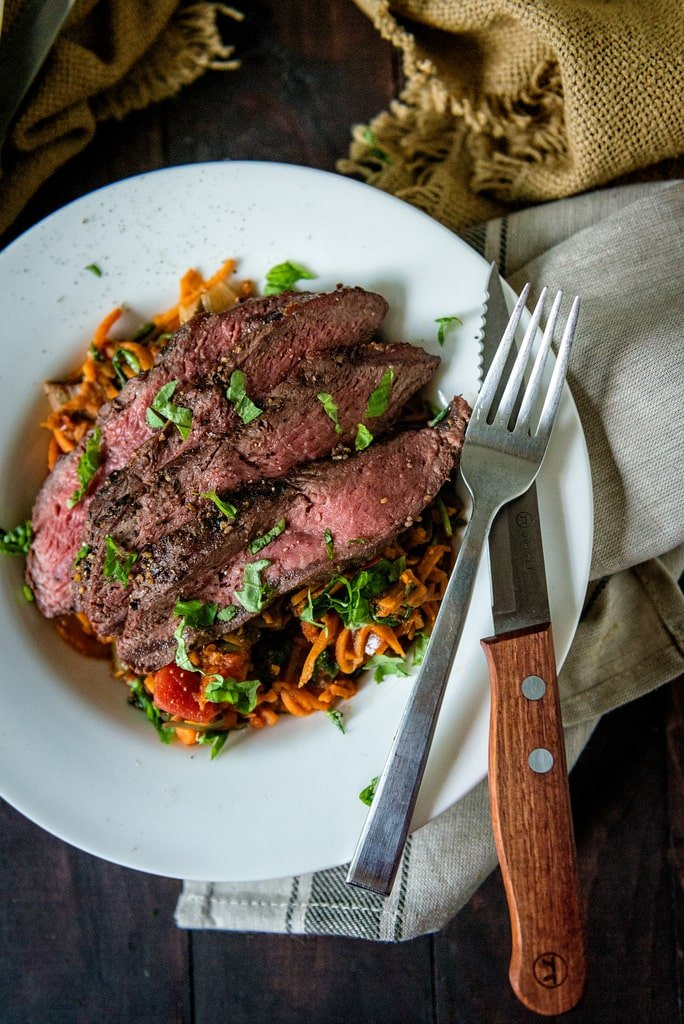 A plate of Steak and Noodles