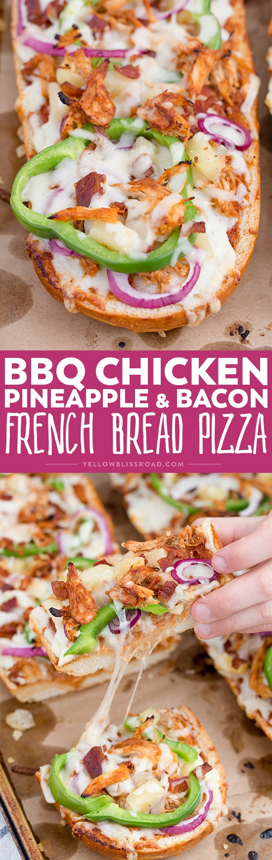 This Barbecue Chicken, Pineapple and Bacon French Bread Pizza is an easy weeknight meal that's full of flavor!