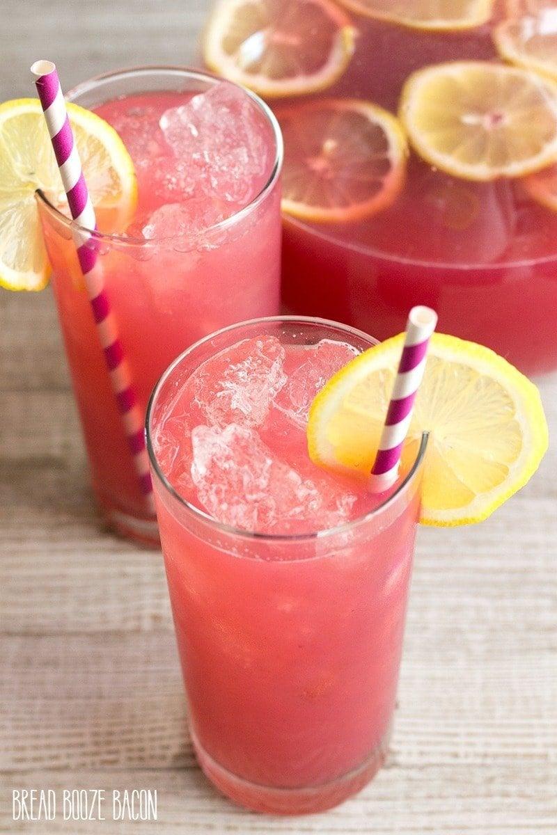 A glass of Blackberry Lemonade on a table