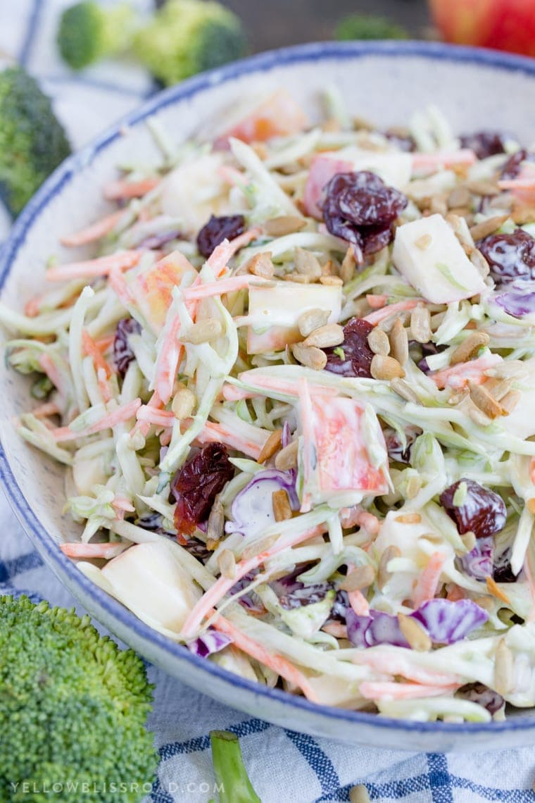 Broccoli Slaw with Apples & Dried Cherries is creamy, crunchy and sweet, making it the best side dish for summertime barbecues to Thanksgiving dinner.