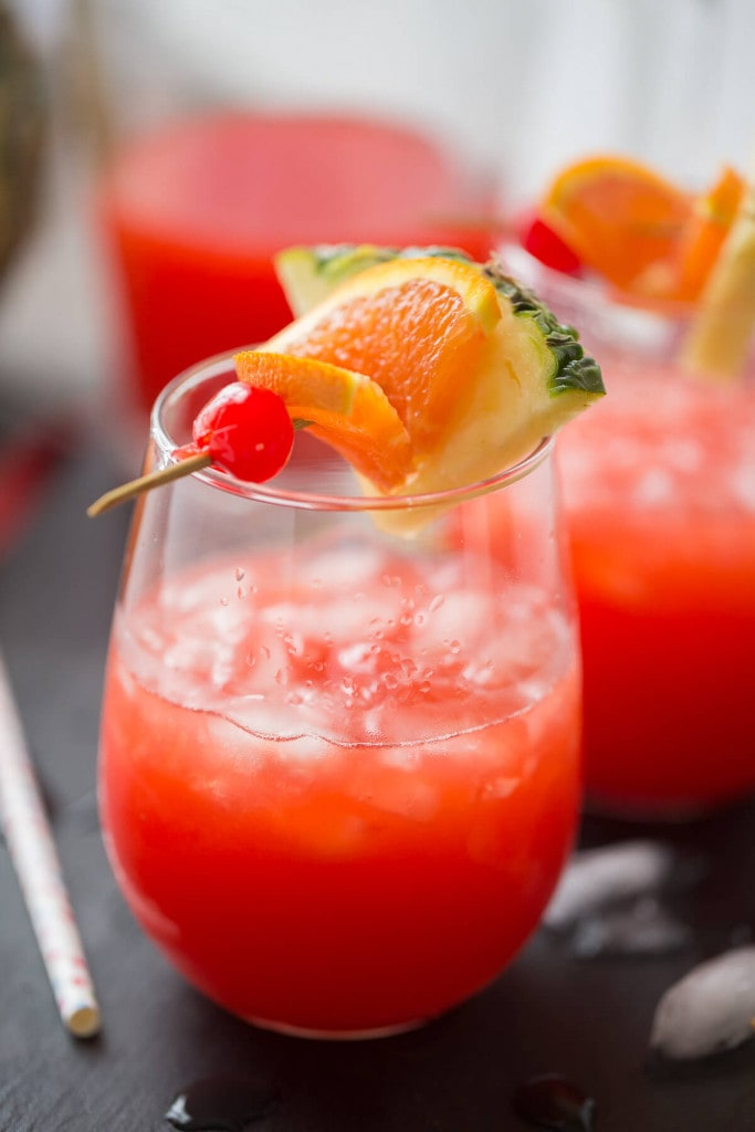 A close up of a glass of punch