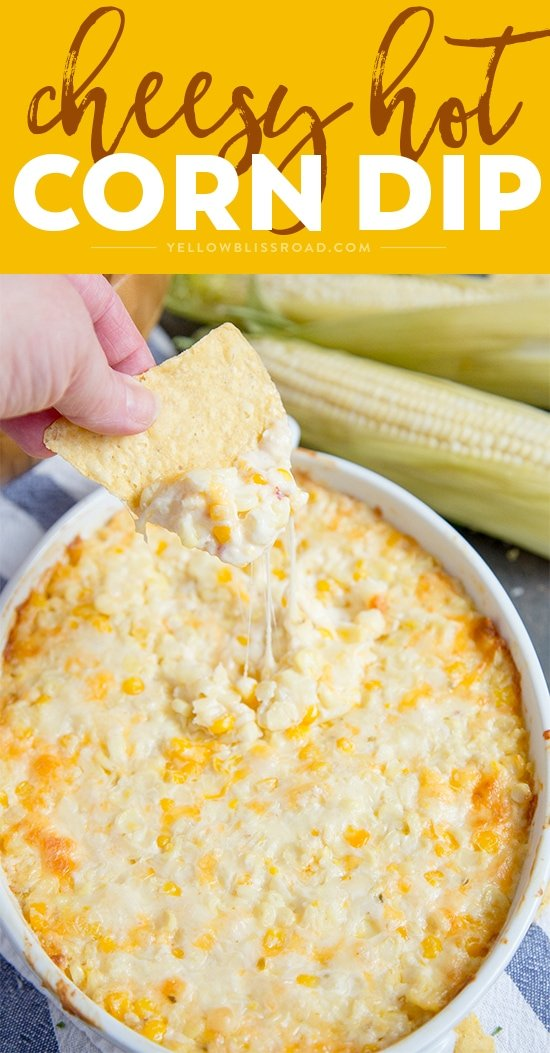 This Cheesy Hot Corn Dip is a creamy, cheesy delicious dip that's perfect for all your summer parties. It's great for tailgating, too!