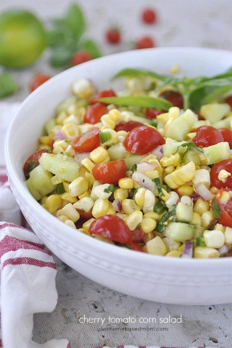 A bowl of corn salad