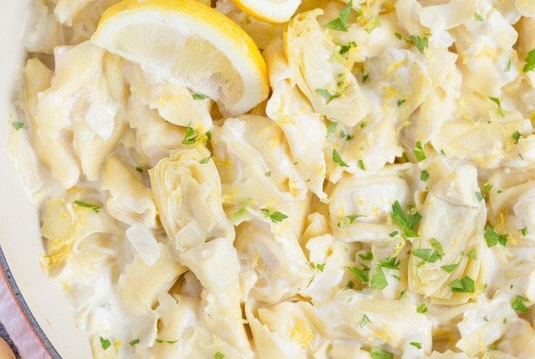Creamy Lemon Artichoke Tortellini Skillet