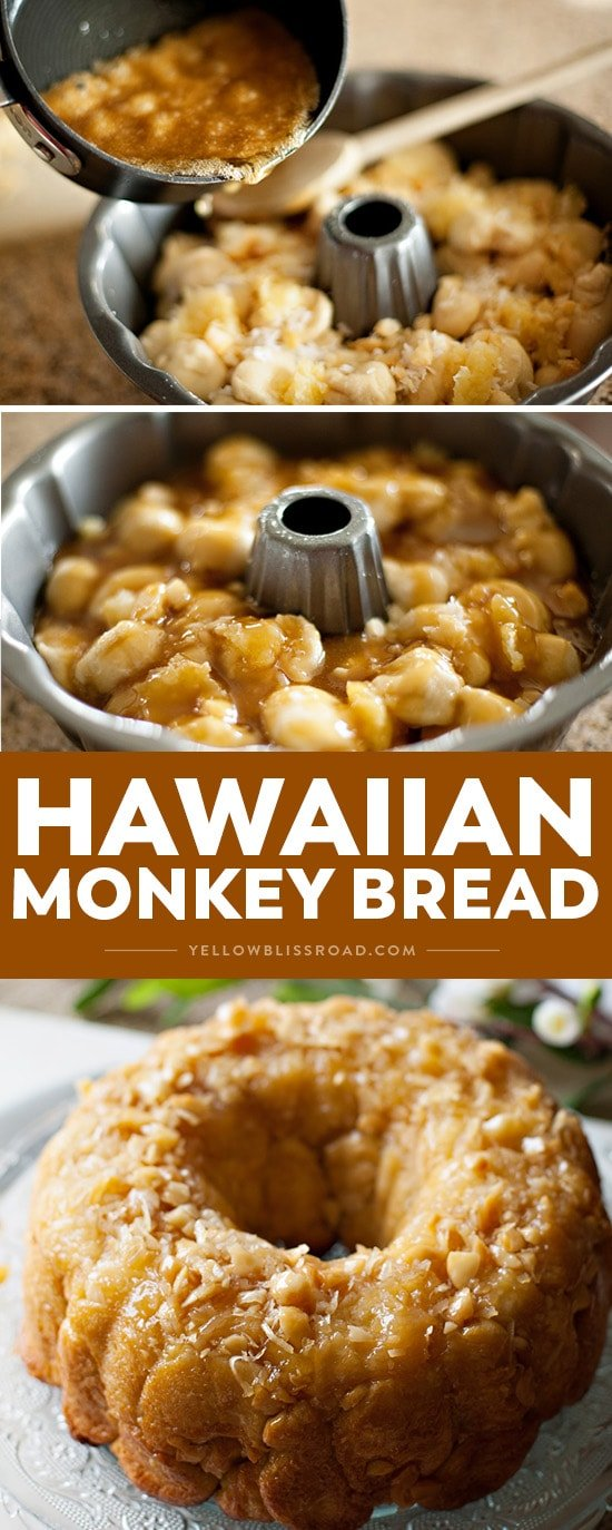 Hawaiian monkey bread images made into a collage with title text