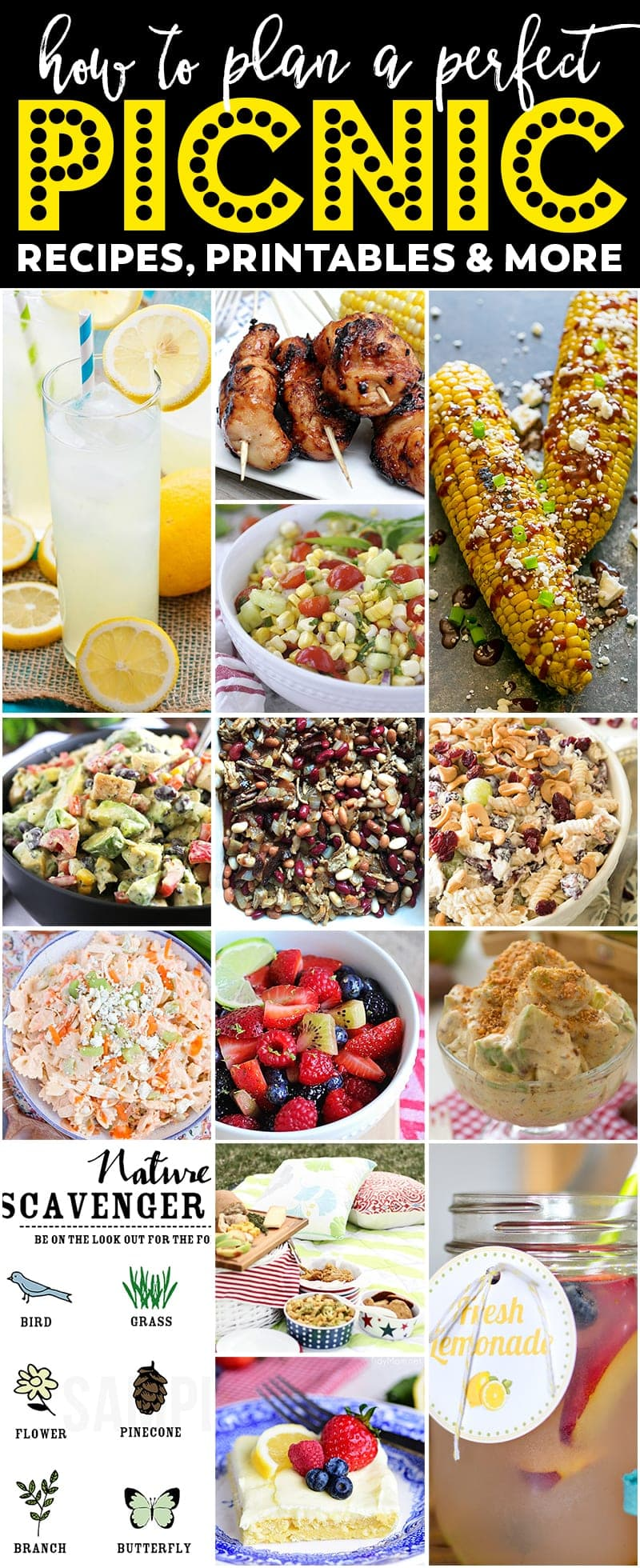a fantastic list of delicious and unique picnic foods, printables and other ideas. Your picnic basket, and your guests, will thank you!
