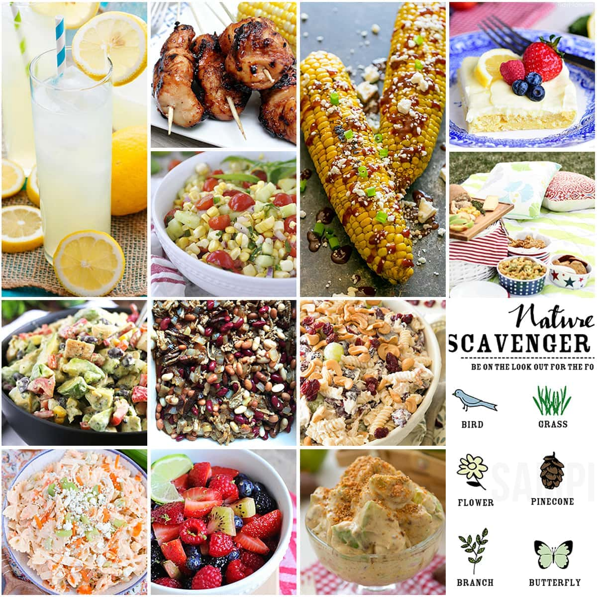 A collage of picnic food